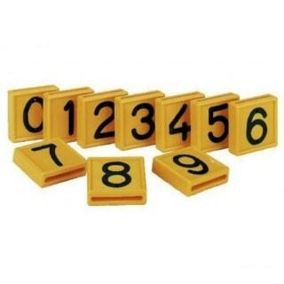 Nummernblock »0 - 9« für Markierungsband, Kuhhalsband · gelb